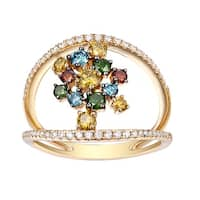 Prism Jewel 1.02 TCW Round Brilliant Cut G-H/SI1 Natural Diamond with Multi Color Diamond Designer Ring - White G-H