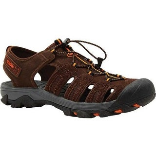 Nevados Men's Newton Sandal Dark Brown/Grey/Orange Leather/Mesh