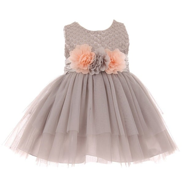 Baby Girls Silver Lace 3D Silk Floral Accent Easter Flower Girl Dress