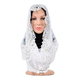Muslim Lace Hollow Macrame Zircon Scarf Kerchief Hat white