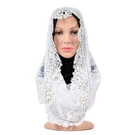 Muslim Lace Hollow Macrame Zircon Scarf Kerchief Hat white