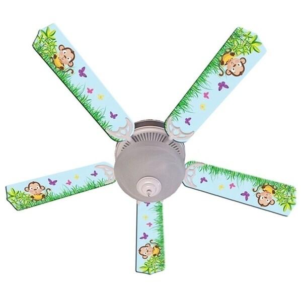 Blue Cute Monkey Print Blades 52in Ceiling Fan Light Kit - Multi
