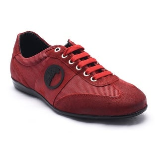Versace Collection Men's Leather Rubber Medusa Logo Low Top Sneaker Shoes Red