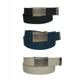 CTM® Men's Fabric Belt with Brass Flip Top Buckle (Pack of 3) - One size
