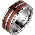 Titanium Wedding Band With Koa Wood Pink Ivory Inlay & Edge Design 7mm - Thumbnail 0