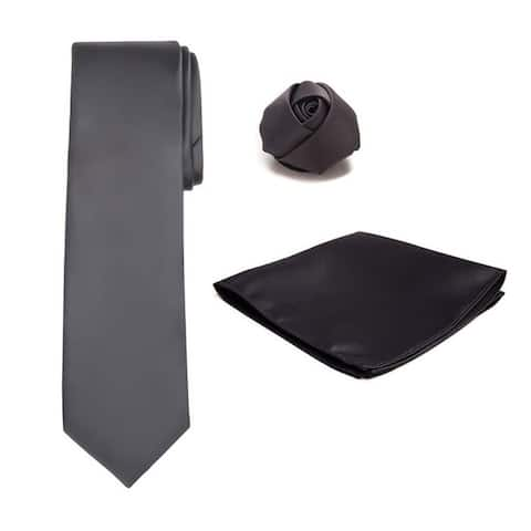 Tie Hanky Rose Lapel Flower 3 pc Set - One Size