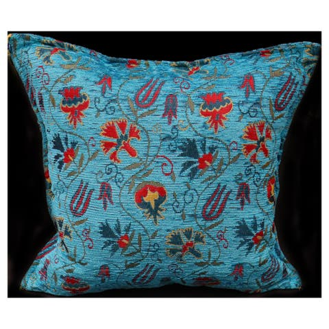Carnation Fern Chenille Turkish Decorative Pillow
