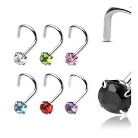 20 GA .925 Sterling Silver Nose Screw with 3mm Round Prong-Set Gem (Sold Ind.)