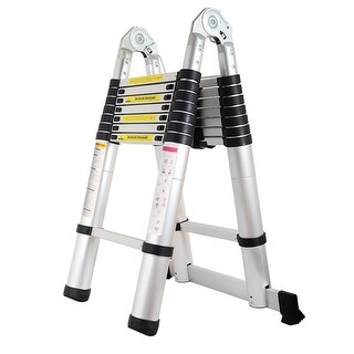 5M Aluminum Folding Telescoping A-Frame Ladder with Hinges