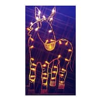 "47"" Donkey Nativity Silhouette Lighted Wire Frame Christmas Outdoor Decoration"