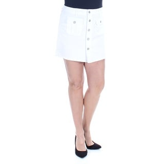 CELEBRITY PINK Womens New 1119 White Button Up Front A-Line Mini Skirt L B+B