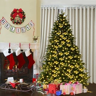 Costway 7.5Ft Pre-Lit Artificial Christmas Tree Hinged w/ 540 LED Lights & Pine Cones