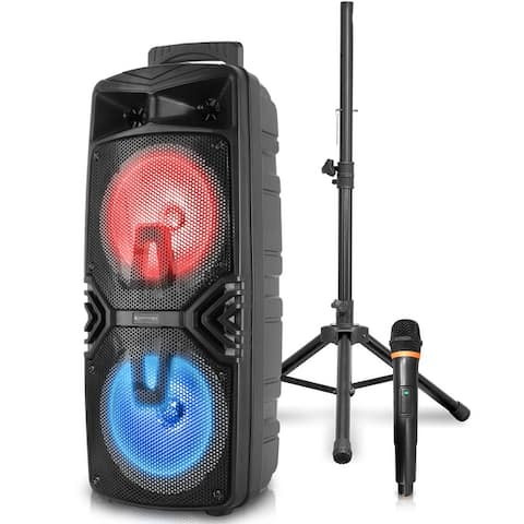 Technical Pro 1000 W Rechargeable DJ Bluetooth Stage Speaker Set Includes Stand and Microphone w LED Woofer, USB, SD Inputs