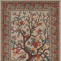 Handmade 100% Cotton Tree of Life Tapestry Tablecloth Bedspread Coverlet Beach Sheet Tan Twin Full Queen & King