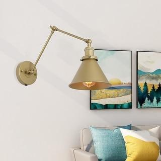 "Link to Carbon Loft Merida Adjustable Gold Swing Arm Lighting Plug-in Wall Lamp - 19.7"" X 7.5"" X 9.1"" Similar Items in Swing Arm Lights"