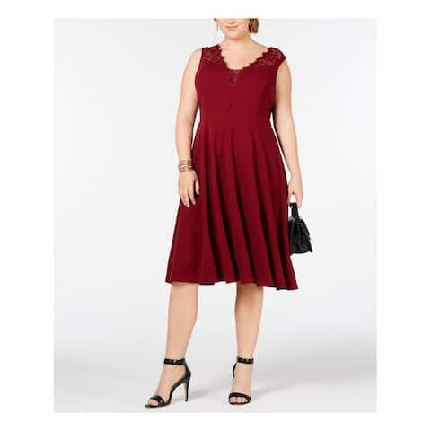 SOPRANO Womens Maroon Lace Trim Sleeveless V Neck Knee Length Fit + Flare Evening Dress Plus Size: 1X