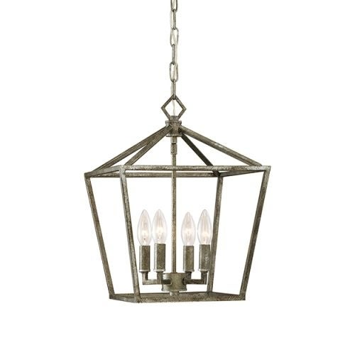 """Millennium Lighting 3234 4 Light 12"""" Wide Pendant with Cage Frame and Candle Style Lights"""