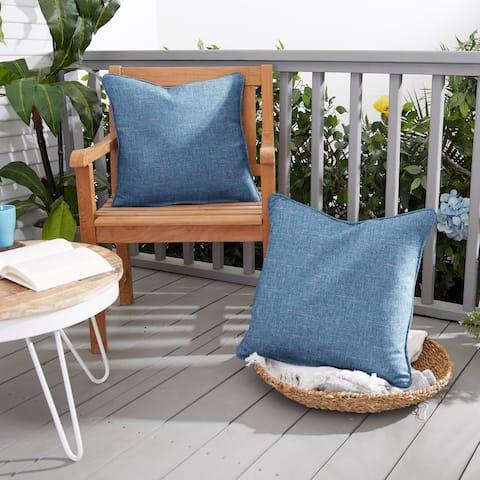Blue Indoor/ Outdoor Corded Pillow Set (Set of 2)