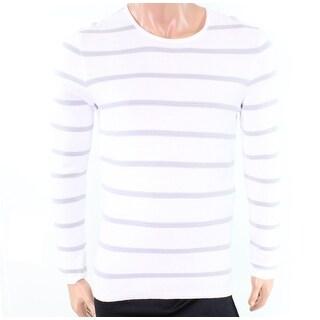 INC NEW White Pure Men Size Large L Striped Crewneck Long-Sleeve Sweater