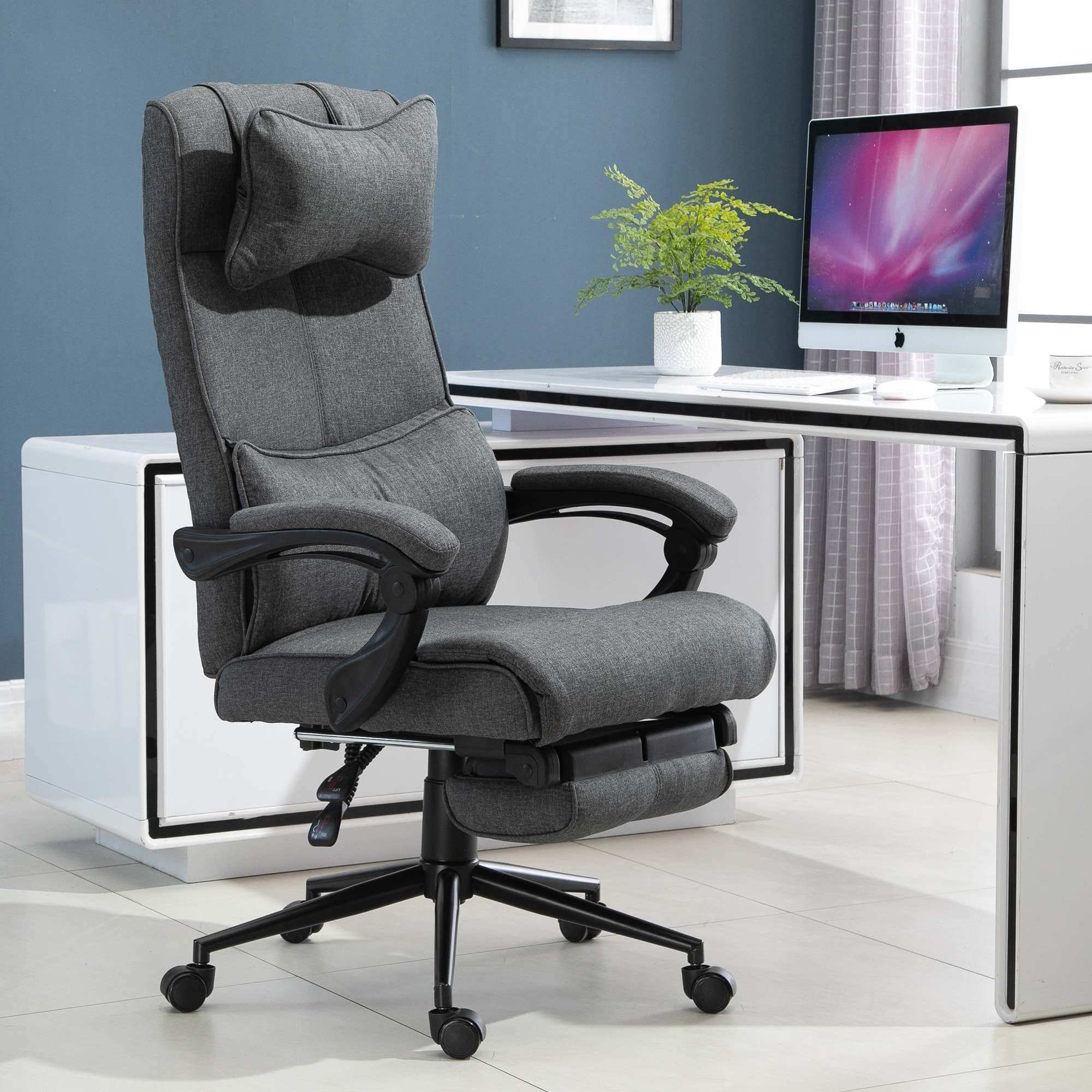 Shop Vinsetto Reclining Home Office Chair Executive Adjustable Rolling Swivel Chair With Retractable Footrest Overstock 31629423