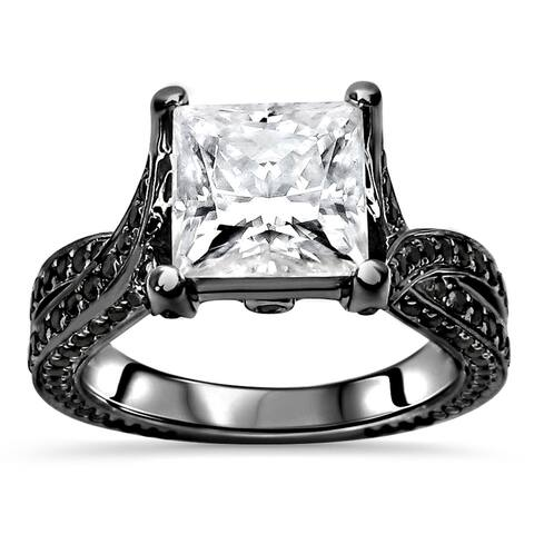14k Black Rhodium Plated White Gold 2.50ct Princess cut Moissanite & 9/10ct Black Diamond Engagement Ring