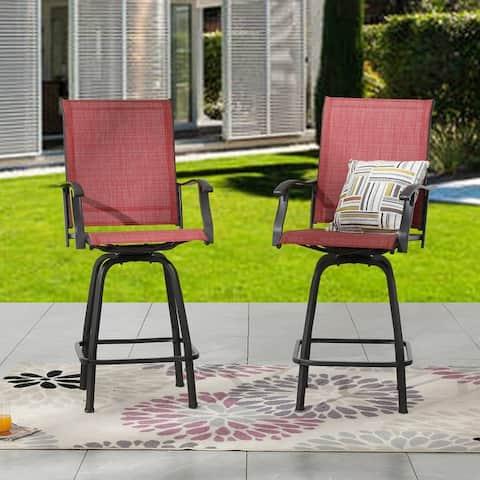 Outdoor Metal Swivel High Seating Bar Chair Set (2-Pk)