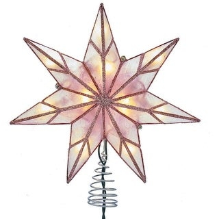 "Link to Kurt Adler 10-Light 7-Point Pink Capiz Star Treetop - 9.45"" Similar Items in Christmas Greenery"