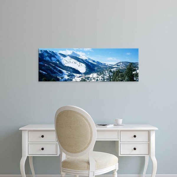 Easy Art Prints Panoramic Images's 'Snowcapped mountains, Lone Mountain, Big Sky, Montana, USA' Premium Canvas Art