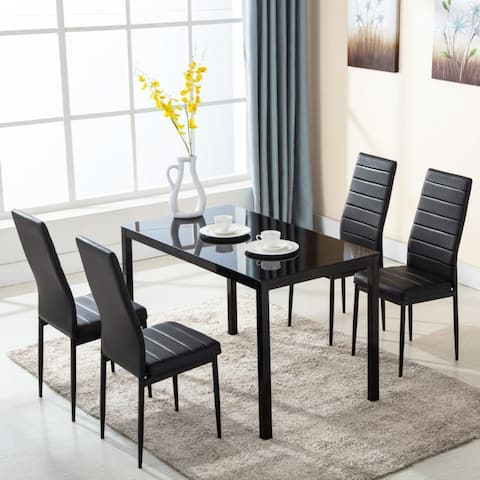 Set of 5 Glass Faux Leather Rectangular Dining Table Set + 4 Chairs