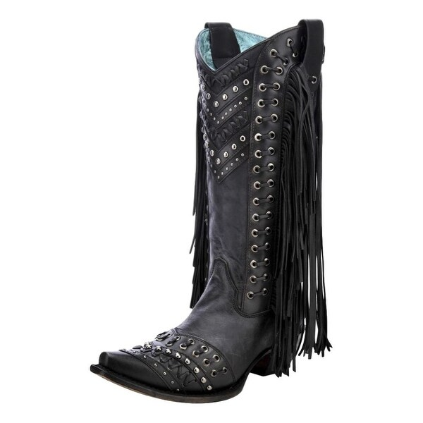 710a16f3877 Corral Western Boots Womens Woven Fringe Pull On Black