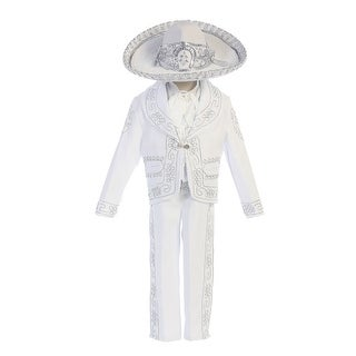 """Angels Garment Baby Boys White """"Papa Con Virgen"""" Charro Baptism Outfit 6-24M"""