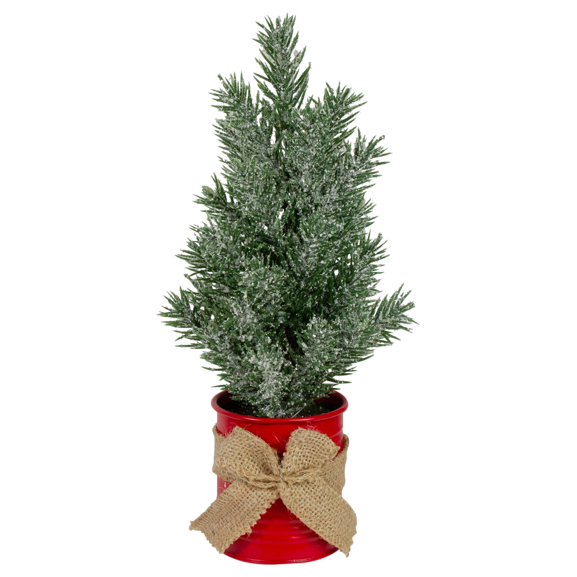 12 Frosted Upswept Mini Christmas Tree With Red Tin Base And Burlap Bow Unlit Overstock 32350898