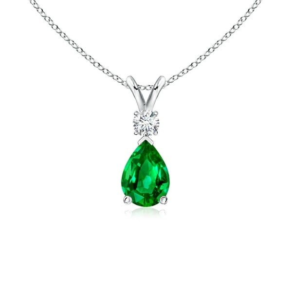 Angara Womens Emerald Necklace in Platinum AQXj7YlIk