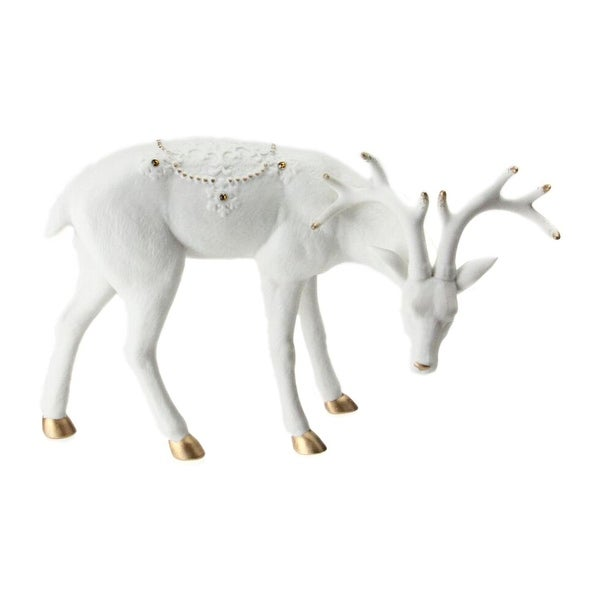 "8.75"" Ivory White Christmas Reindeer with Gold Gemstones Table Top Decoration"