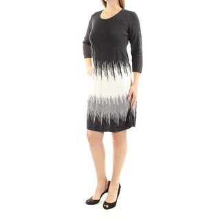 Womens Gray 3/4 Sleeve Above The Knee Sheath Casual Dress Size: M