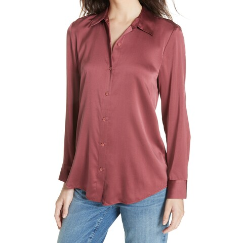 Eileen Fisher Motry Red Womens Size XS Button-Front Collar Blouse