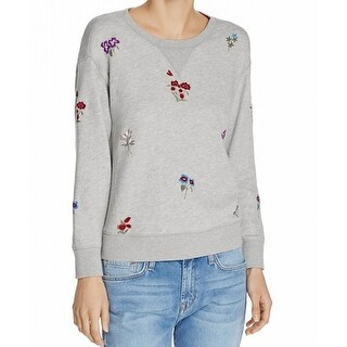 Soft Joie NEW Gray Womens Size Small S Embroidered Pullover Sweater