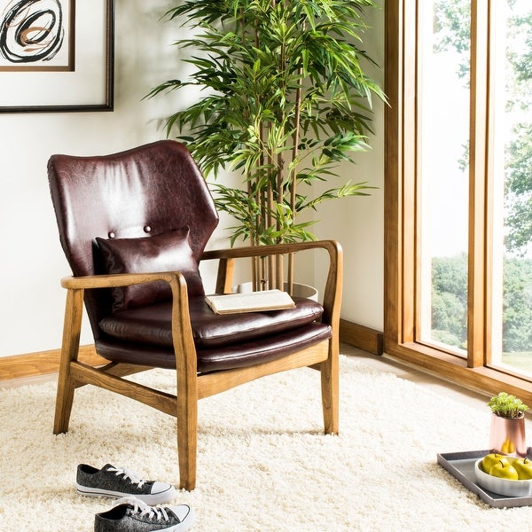 SAFAVIEH Tarly Burgundy/ Black Accent Chair. Opens flyout.