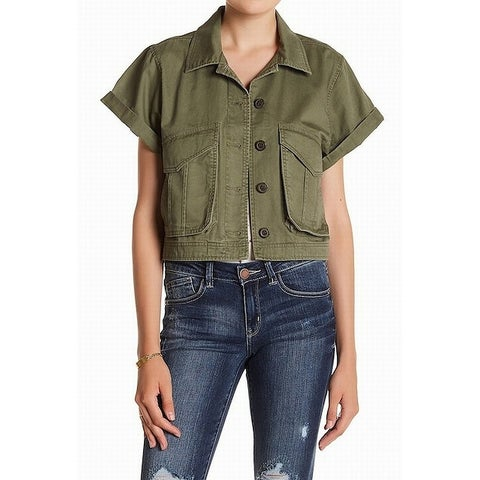 Jolt Green Women's Size Medium M Cuffed Cropped Military Jacket