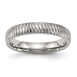 Stainless Steel Polished Textured Ring (4 mm) - Sizes 6 - 13