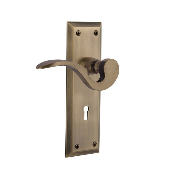 Nostalgic Warehouse NYKMAN_DD_KH Manor Non-Turning Two-Sided Lever Set with New York Rose and Decorative Keyhole