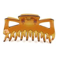 Unique Bargains Brown Spring Loaded Press Plastic Barrette Hair Clip Hairpin for Ladies