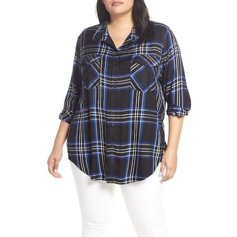 Sanctuary Blue Women Size 3X Plus Plaid Boyfriend Button Down Shirt