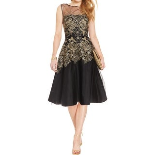 Tahari ASL Womens Cocktail Dress Metallic Floral