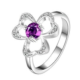 Trio-Clover Stud Purple Citrine Petite Ring