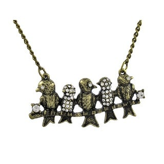 Antiqued Brass Finish Rhinestone Accented Birds on a Wire Necklace 20 Inch