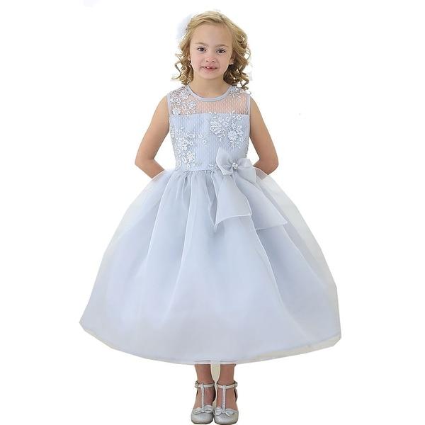 Shop Girls Silver Lace Top Ribbon Junior Bridesmaid Dress 8-12 ... ea4c452f5d5d