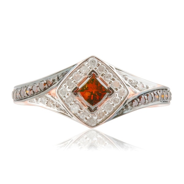 Prism Jewel 0.52Ct Princess and Round Cognac Color Diamond with Diamond Engagement Ring - White I-J/Red
