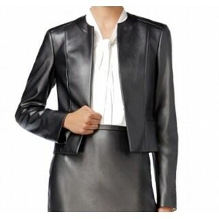 Tommy Hilfiger NEW Black Women's Size 10 Faux-Leather Basic Jacket