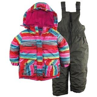 Rugged Bear Toddler Girls Snowflake Stripes Snowboard Ski Jacket Snowsuit, 2T
